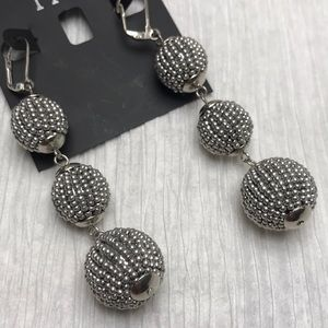 INC silver ball drop earrings NWT